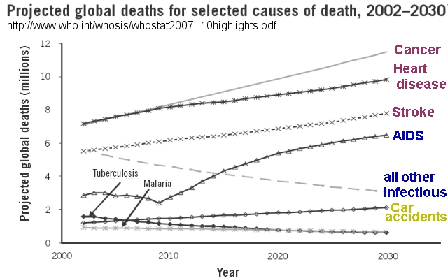 Eight Most Deadly Infectious Diseases 1990 vs. 2004