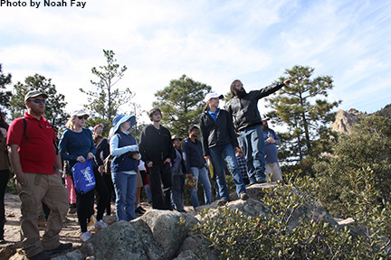 A group of students and an instructor on a GeoPathways field trip.