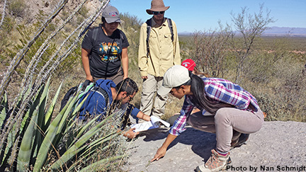 Five students examine the ground on a field trip