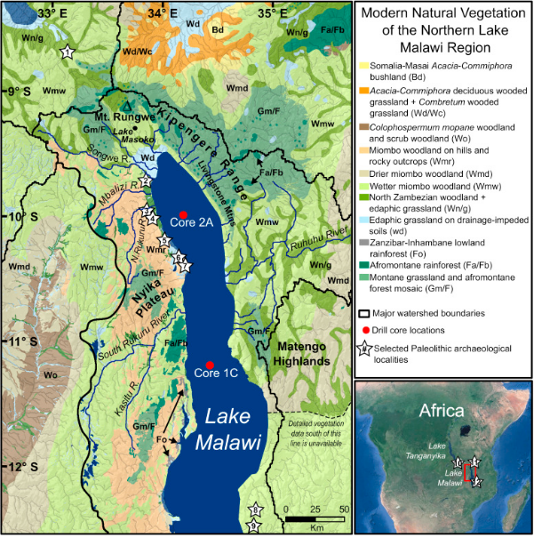 Lake Malawi Africa Map.Subdecadal Phytolith And Charcoal Records From Lake Malawi East
