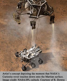 Artist's depiction of NASA's Curiosity rover touching down on Martian surface.