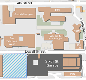 A map of Sixth Street garage in relation to the Gould-Simpson Building