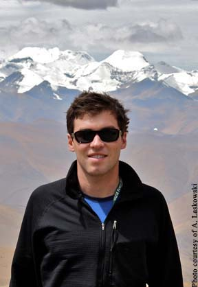 Andrew Laskowski with high Himalayas in background